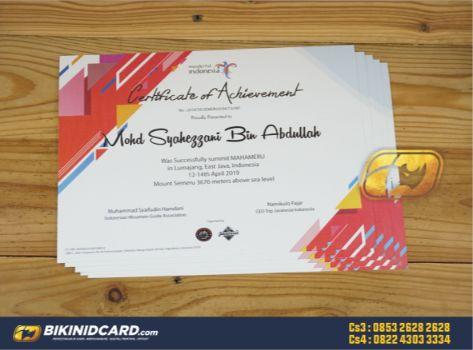 jenis dan contoh sertifikat