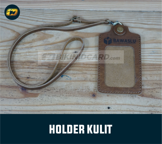 holder kulit gantungan id card pegawai