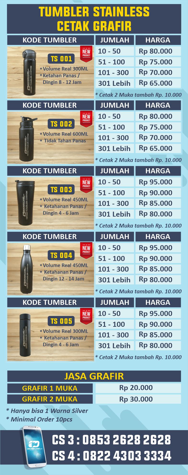 daftar harga tumble stainless terbaru